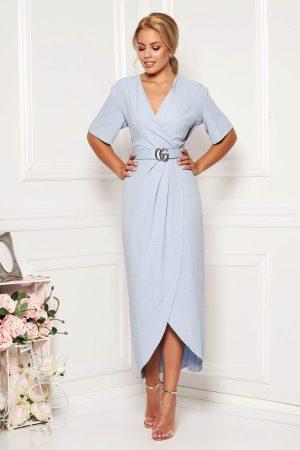 Rochie albastru-deschis eleganta cu un croi mulat din material usor elastic