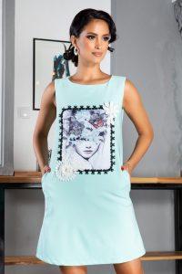 Rochie casual cu imprimeu frontal Bleu