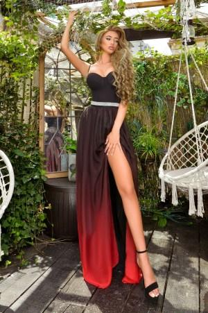 Rochie de ocazie lunga eleganta cu crapatura pe picior in degrade