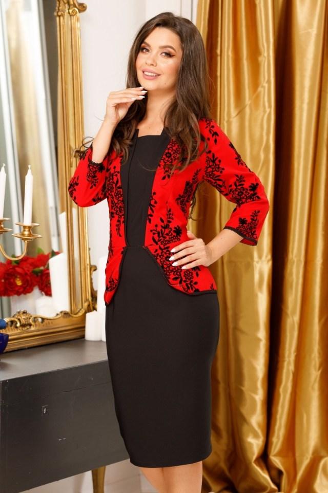 Rochie eleganta cu detalii de catifea