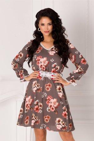 Rochie gri eleganta cu imprimeu floral pastelat