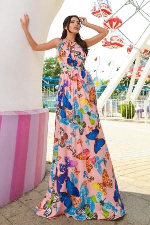 Rochie lunga cu imprimeu fluturi