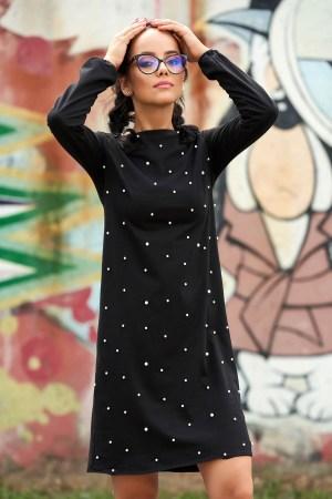 Rochie neagra scurta de zi cu aplicatii cu perle cu maneci lungi