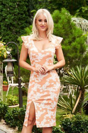 Rochie portocalie midi de zi tip creion cu decolteu adanc si rotunjit