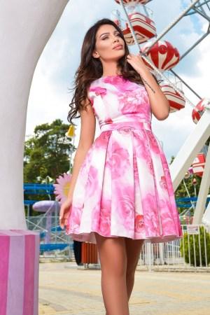 Rochie scurta tafta imprimeu floral roz