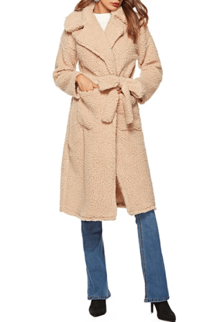 Palton dama elegant petrecut din blana ecologica cu cordon
