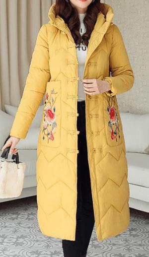 Palton dama lung cu gluga si broderie florala