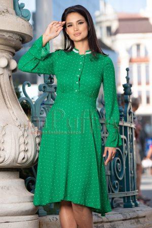 Rochie casual cu maneci lungi verde cu buline