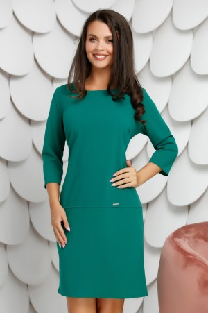 Rochie casual midi verde cu maneci lungi