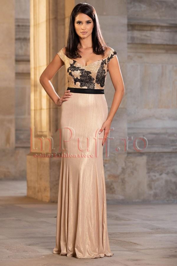 Rochie de ocazie eleganta aurie lunga cu paiete