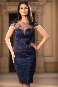 Rochie de ocazie eleganta bleumarin din broderie cu paiete aplicate