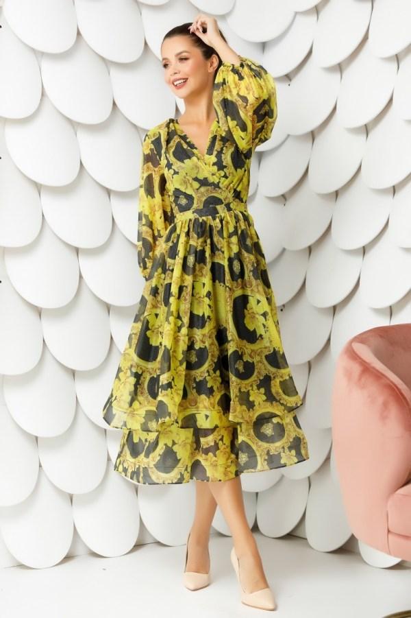 Rochie de ocazie eleganta cu decolteu petrecut si imprimeu