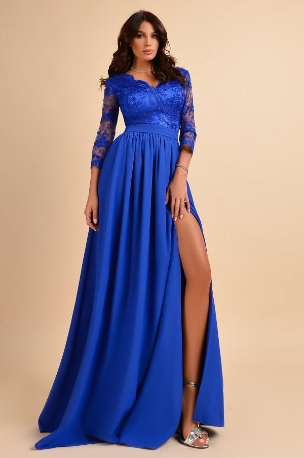 Rochie de ocazie eleganta lunga cu dantela albastra la bust