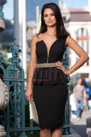 Rochie de ocazie eleganta midi neagra cu peplum si strasuri in talie
