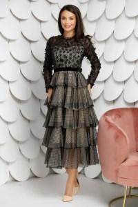 Rochie de ocazie eleganta neagra cu maneci lungi