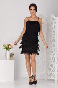 Rochie de ocazie neagra scurta accesorizata cu paiete