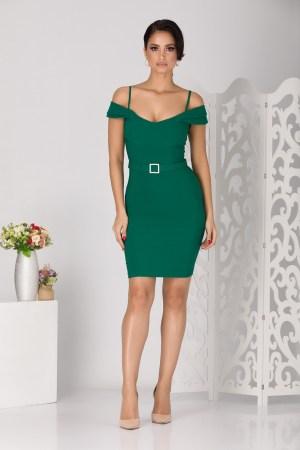 Rochie de ocazie scurta verde cu decolteu in forma de barcuta