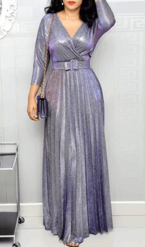 Rochie de seara lunga eleganta din material stralucitor