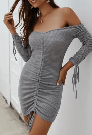 Rochie de zi eleganta din tricot cu umeri goi