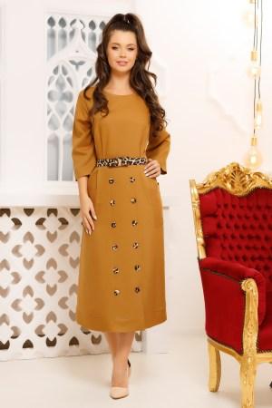 Rochie de zi office eleganta cu croi in a si cu nasturi pe fusta
