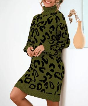 Rochie de zi scurta cu guler inalt si imprimeu