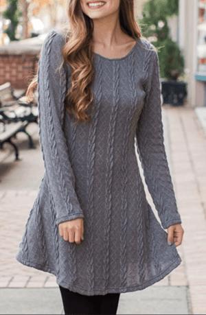Rochie de zi scurta in clos tip pulover din tricot