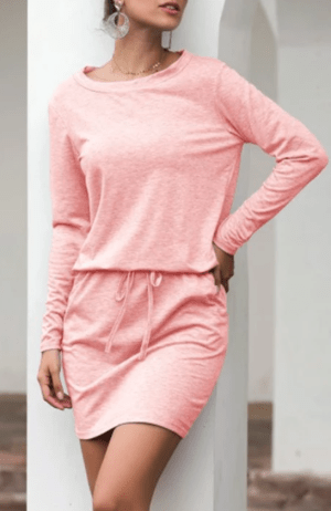 Rochie de zi tip pulover cu snur la talie