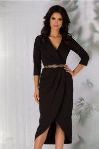 Rochie eleganta asimetrica petrecuta neagra cu pliuri