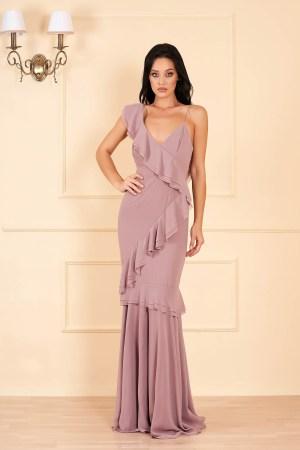 Rochie eleganta de lux cappuccino lunga din voal cu decolteu in v