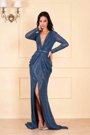 Rochie eleganta de lux lunga turcoaz cu decolteu adanc in v cu maneci lungi