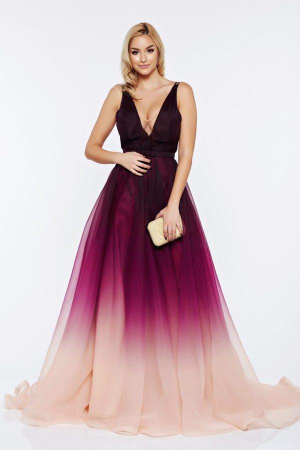 Rochie eleganta de ocazie de lux mov cu spatele gol cu decolteu in v