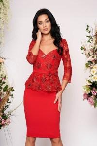 Rochie eleganta de ocazie midi rosie cu paiete si decolteu in v