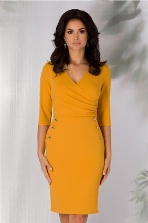Rochie eleganta galben mustar cu decolteu petrecut si nasturi decorativi