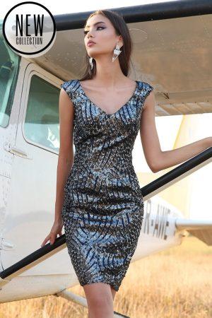 Rochie eleganta midi din paiete cu decolteu in V