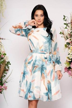 Rochie eleganta midi in clos din voal cu maneci lungi si imprimeu floral