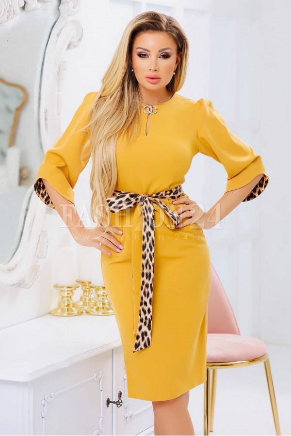 Rochie eleganta midi mustar croi conic si maneci trei sferturi