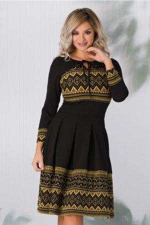 Rochie eleganta neagra cu imprimeu geometric galben mustar