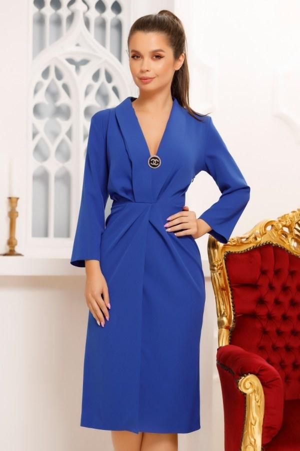 Rochie elganta cambrata albastra cu maneci lungi