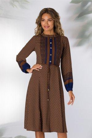Rochie maro de zi decolteu rotund incretit si imprimeu divers