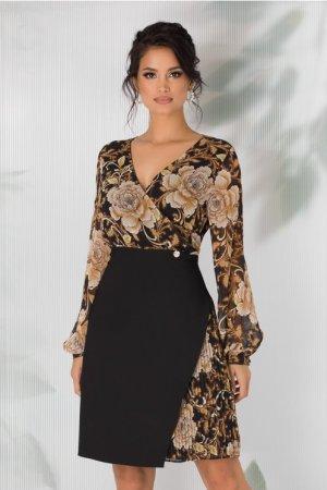 Rochie neagra cu imprimeu floral galben mustar si maneci lungi
