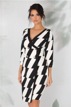 Rochie stil sacou cu imprimeu ivoire - negru
