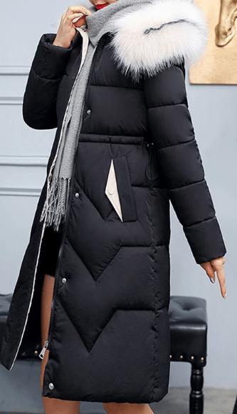 design atemporal nou sosesc autentic Geaca dama groasa de iarna cu guler din blana | Smart Shopping Online
