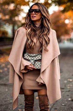 Jacheta dama bej midi lejera din stofa