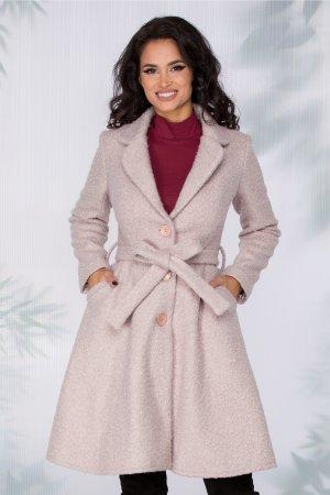 Palton bej rose din lana elegant cu croiul evazat