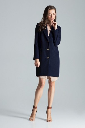 Palton dama albastru drept cu trei nasturi dressy