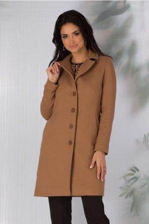 Palton dama bej scurt cu croi drept si inchidere cu nasturi
