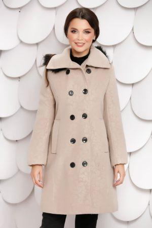 Palton dama crem cu nasturi si blanita la gluga