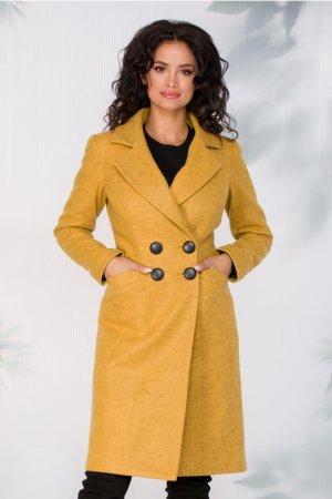 Palton dama din lana midi galben croi drept cu patru nasturi