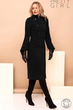 Palton dama elegant negru cu maneca evazata si guler tip tunica