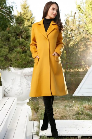 Palton dama galben tip a cu buzunare